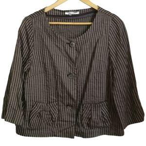 STEILMANN Brown & White Stripes Crop Linen Blazer